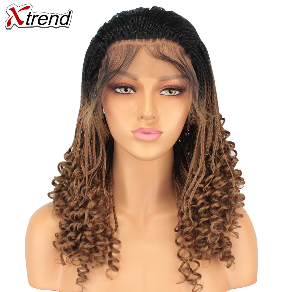 Xtrend Brown Black Box Braided Wig For Women Long Synthetic Lace Front Braid Wig Curly End