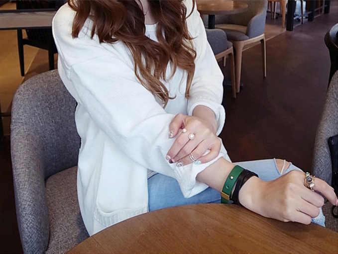 وصل حديثًا 2019 خاتم نسائي عصري رائع أكسسوارات تبادل لاطلاق النار في الشارع مقاس لؤلؤ تقليد قابل للتعديل خاتم مفتوح مجوهرات نسائية