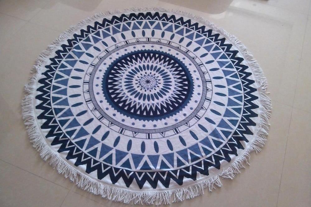 750gram Plaid Summer Large Microfiber Round Beach Towels With Tassel Mandala Tapestry toalha de praia Picnic Yoga Mat Blanket in Sport Towels from Home Garden