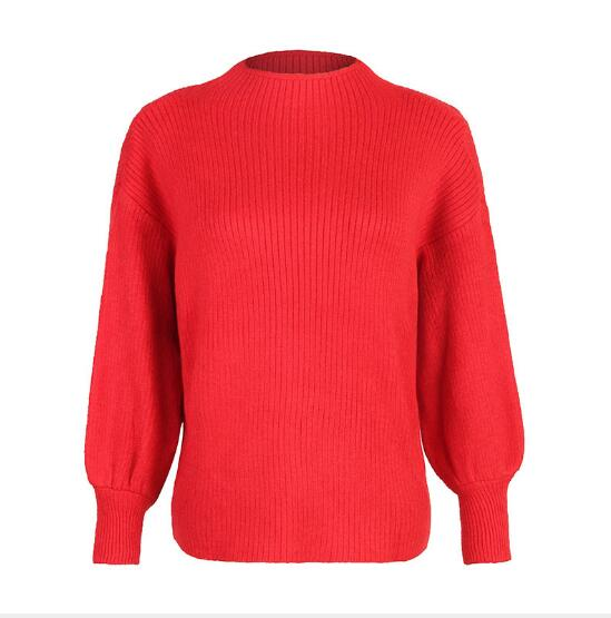 grey Winter New 2018 red Casual orange Women Sleeve Lantern Slim Black Knitted Female Pullover Clothing Fashion Fit Sweater Turtleneck Solid THwTEqtx