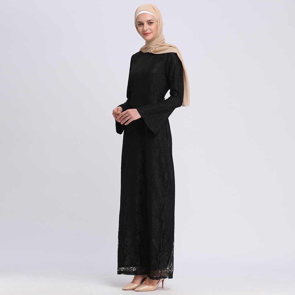 Кружевные женские мусульманские платья abaya Дубай белый желтый зеленый черный красный синий длинный халат Туника кимоно Jubah кафтан хиджаб Исламская одежда