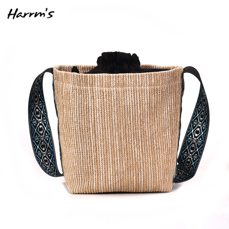 Summer Women Pastoral Wind Grass Woven Straw Bag Simple Woven Bag Braided Basket Beach Messenger Bag Shoulder Handbag HOT SELL
