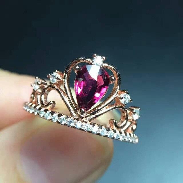 646e93374894 Turmalina roja natural GEM anillo s925 plata Piedra Natural anillo de moda  elegante gotas corona de