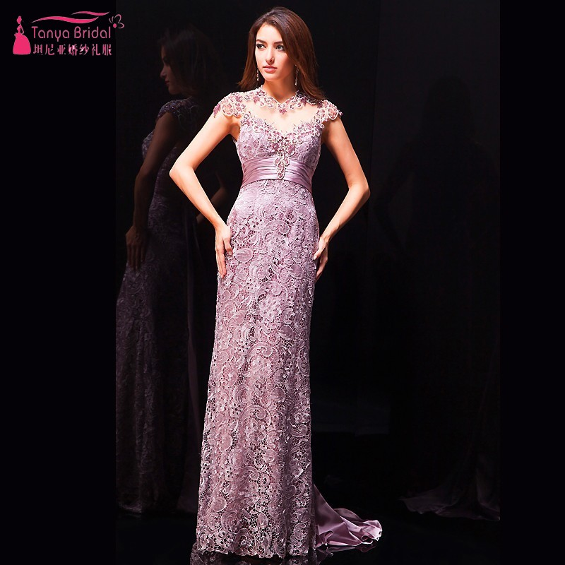 High Collar Short Sleeves Light Purple Lavender Long Straight Lace Formal Evening Dresses China Alibaba Cheap