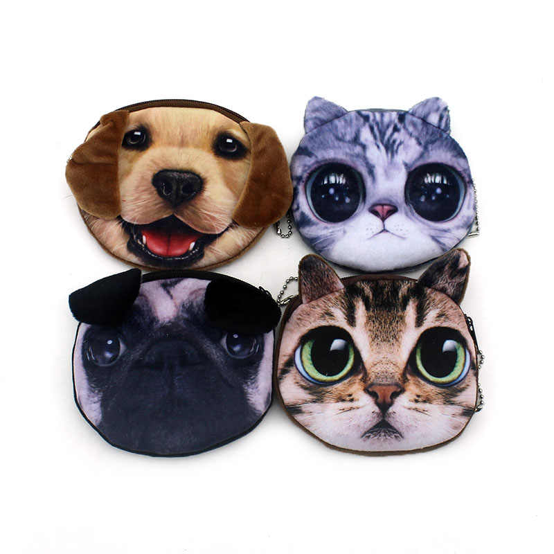 2018 Promotion 3D Oval Animal Prints Mini Children Coin Bags Women Storage Pouch Cute Cat Dog Wallets Kids Coin Purses For Gifts