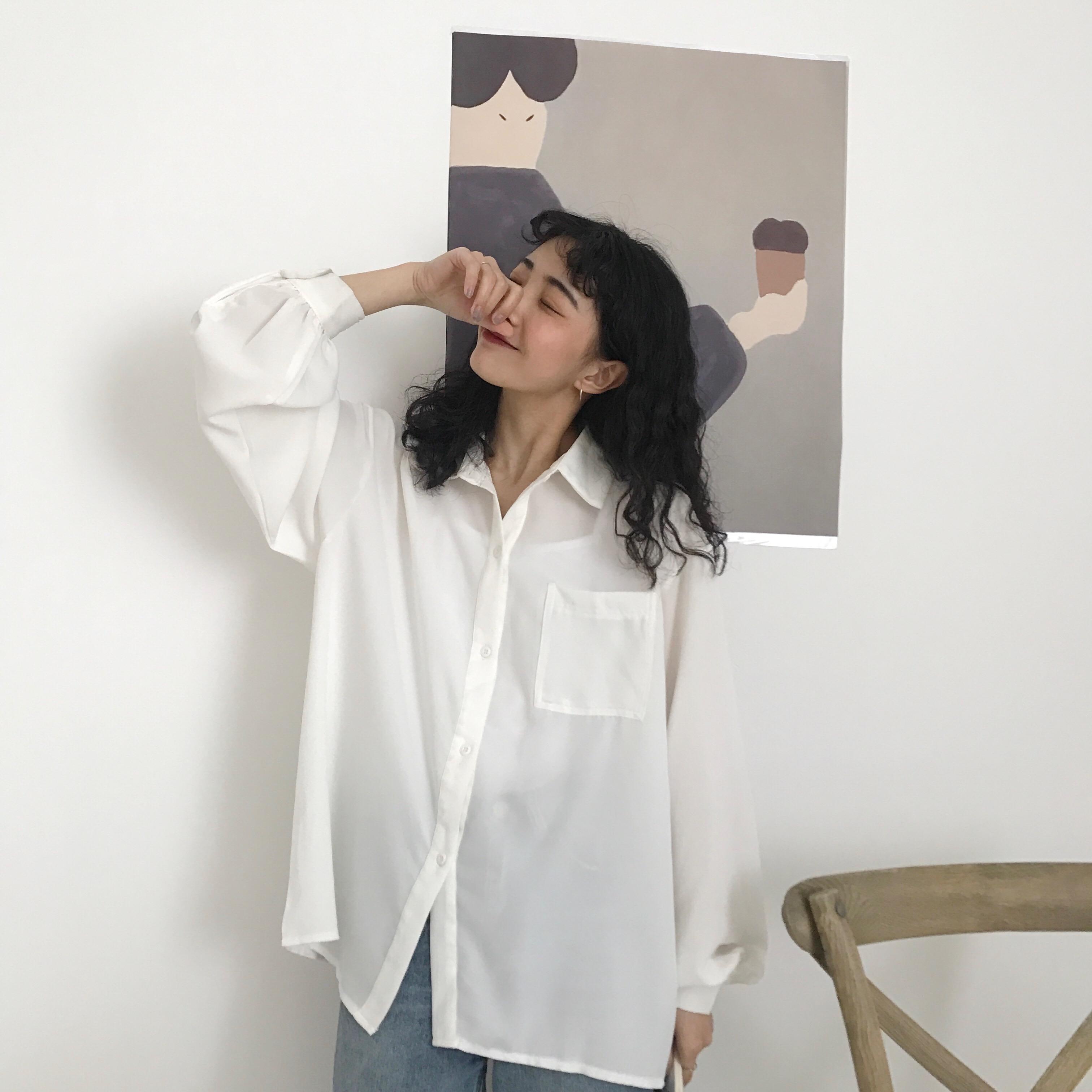 41a7c82e484 Women Summer Transparent Sexy White Shirts Abstract Cartoon Printed Pocket Lantern  Sleeve Shirt Elegant Female Casual Tops Blusa