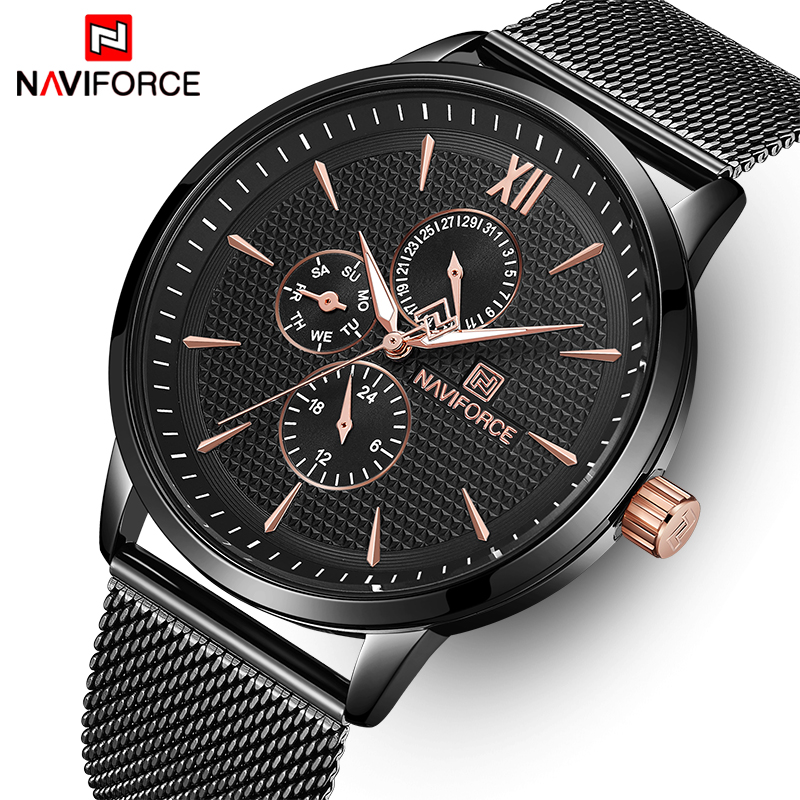 NAVIFORCE Top Brand Luxury Watches Men Fashion Stainless Steel Watches Male Date Quartz Clock Sports Waterproof Wrist Watch geeekthink top brand quartz watch men s fashion full stainless steel casual wrist watches imported movement waterproof date week