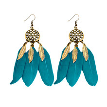 Fashion BOHO Bohemia Feather Dreamcatcher Drop Earring Ethnic style elegant Beach earring For Sexy Women Wholesale(China)