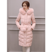 2018 new winter Jacke women long sleeved hooded cotton coat women over knee length Add hair ball fashion jackets outerwear parka