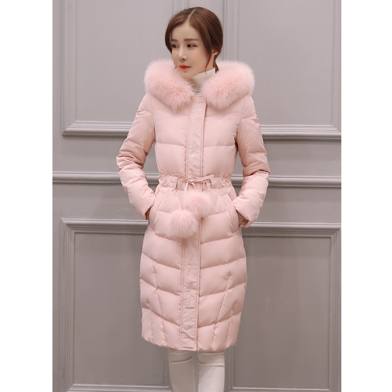 2019New winter Jacket women long-sleeved hooded cotton coat women over knee length hair ball fashion Pink jacket outerwear   parka