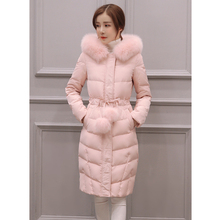 2019New winter Jacket women long-sleeved hooded cotton coat women over knee length hair ball fashion Pink jacket outerwear parka все цены