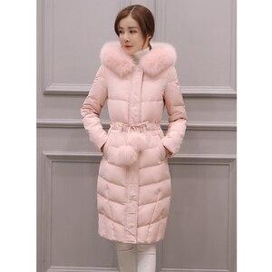 Image 1 - 2020 새로운 겨울 자 켓 여성 긴 소매 후드 아래로 코 튼 코트 무릎 길이 머리 공 패션 핑크 겉옷 파 카 슬림