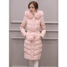 Chaqueta de invierno de manga larga con capucha para mujer, abrigos de algodón por encima de la rodilla, pelo, moda de baile, abrigo rosa, Parkas ajustadas, novedad de 2020