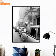 Llama in a New York City taxi Wall Art Canvas Painting Nordic Posters And Prints Animal Pictures For Living Room Home Decor