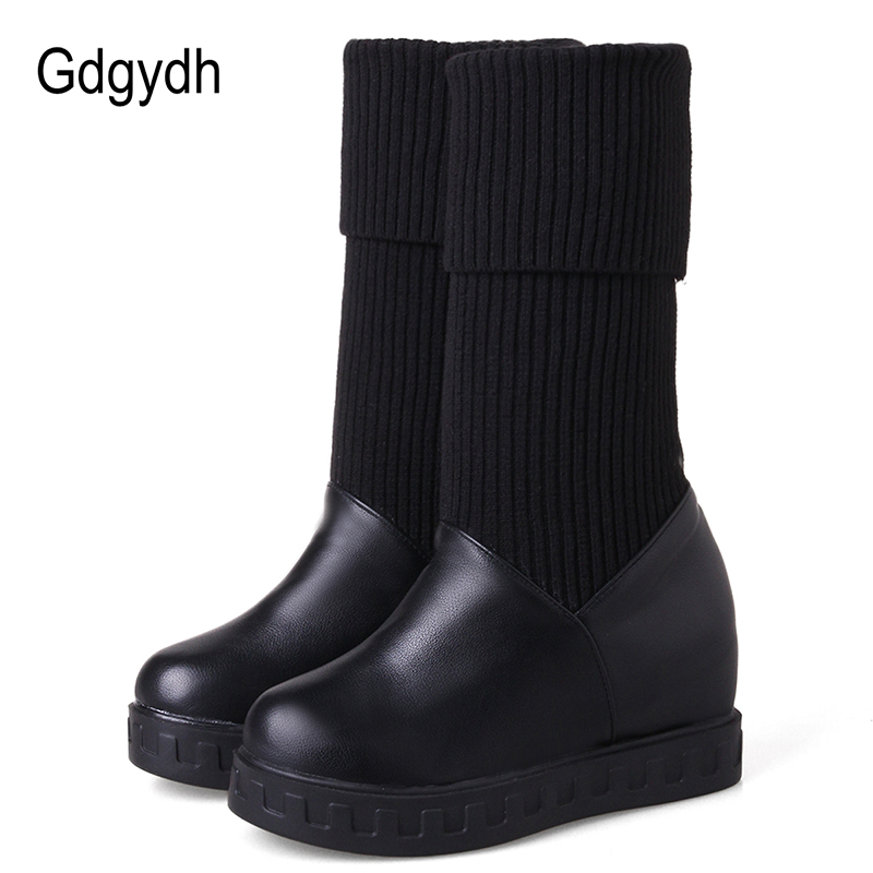 Gdgydh Mid-calf Wedges Cotton Shoes Women Black Plush Inside Rubber Sole Ladies Snow Boots Platform Stretch Fabric Plus Size 43 double buckle cross straps mid calf boots