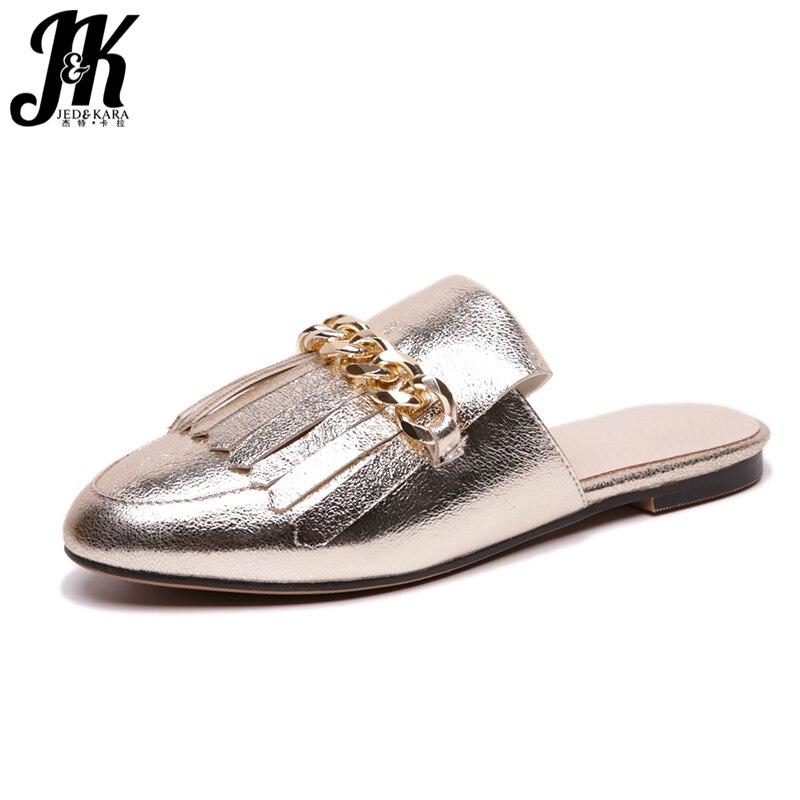 JK 2018 D'été Femmes Pantoufles Bout Carré En Caoutchouc Décoration En Métal Plat Semelle Chaussures Diapositives Mode Casual Dames Mules Chaussures