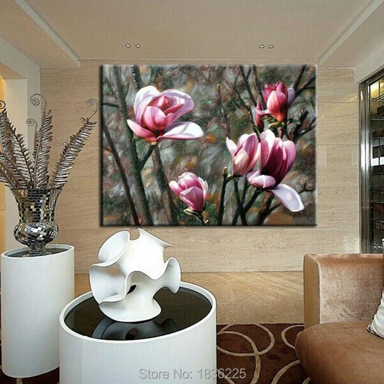 Minimalist Decorative Paintings Metal Art Magnolia Flower Oil
