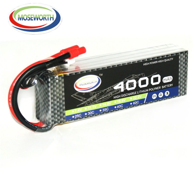 MOSEWORTH 2S RC Lipo Battery 7.4v 4000mAh 30C For RC Aircraft Car Boat Drones Quadcopter Multicopter Airplane Li-polymer 2S AKKU yukala ft012 2 4g rc racing boat hq734 rc car 11 1v 2700 mah li polymer battery