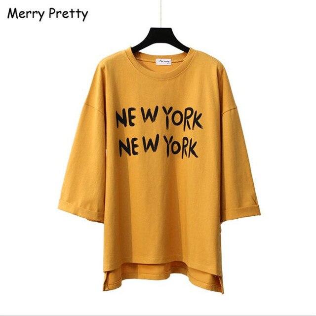 Веселые Довольно 2017 новый женщины футболка Корейский стиль письмо печати случайные свободные длинные хлопок Футболки каваи панк топы девушку ти топ
