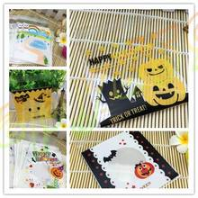 800pcs Halloween rainbow pumpkin smiley gift ziplock Bags Cookies Cake biscuit candy Self-adhesive Packaging Party bag 10x10cm