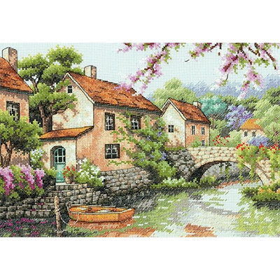 CS-2954 Counted Cross Stitch Kit Village Canal River dim 70-35330 35330
