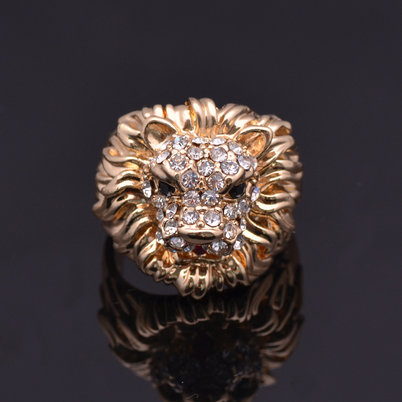 trendy engagement rings accessories head from item animal for color vintage gold design yellow plated jewelry in band biker lion on finger men