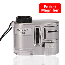 Handheld Protable Pocket Mini 60X Microscope Jeweler Loupe Lens Illuminated Magnifier Glass With LED Light pen style 25x 2 led illuminated microscope with scale markings