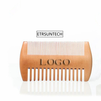 100pcs Fine & Coarse Tooth Dual Sided Wood Combs Customized LOGO Wooden Hair Comb Double Sides Beard Comb for Men F3150
