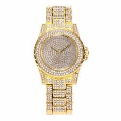 Роскошные Дизайн полный Блестящий горный хрусталь кварцевые наручные часы Сталь ремешок элегантные женские часы подарки