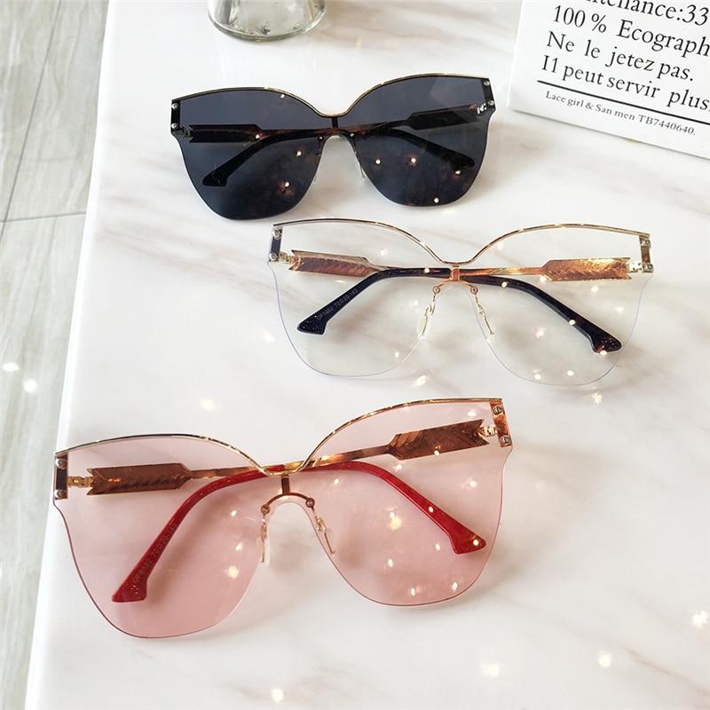 Women Sunglasses Original Brand Designer Luxury Decoration Classic Eyewear Female Oversize Cat Eye Sun Glasses Fashion UV400
