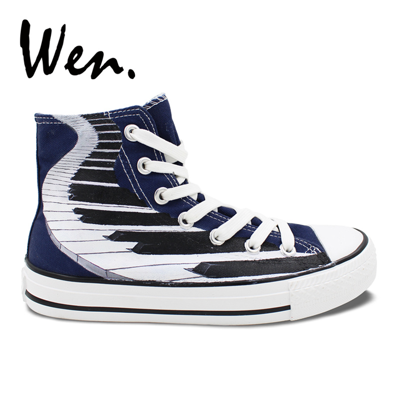 Wen Blue Hand Painted Shoes Original Design Custom Piano Keyboard Men Women's High Top Canvas Sneakers Birthday Gifts wen original hand painted canvas shoes space galaxy tardis doctor who man woman s high top canvas sneakers girls boys gifts