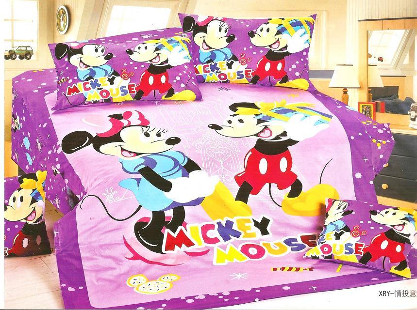 Purple Color Mickey Minnie Mouse Bedding Sets Girls Bedroom Decor Single Twin Size Bed Sheets
