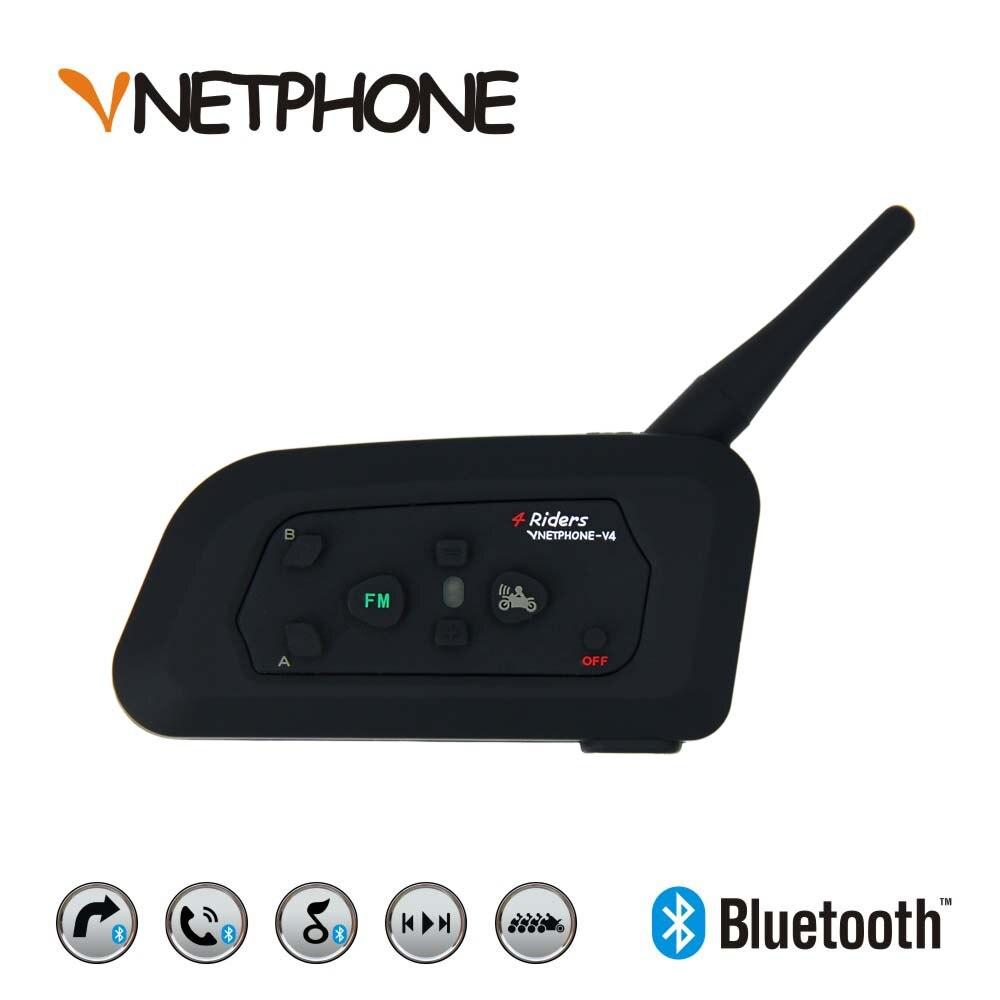 Vnetphone V4 Bluetooth Helma Intercom Motocykl BT Interphone Headset Sluchátko pro 4 jezdce