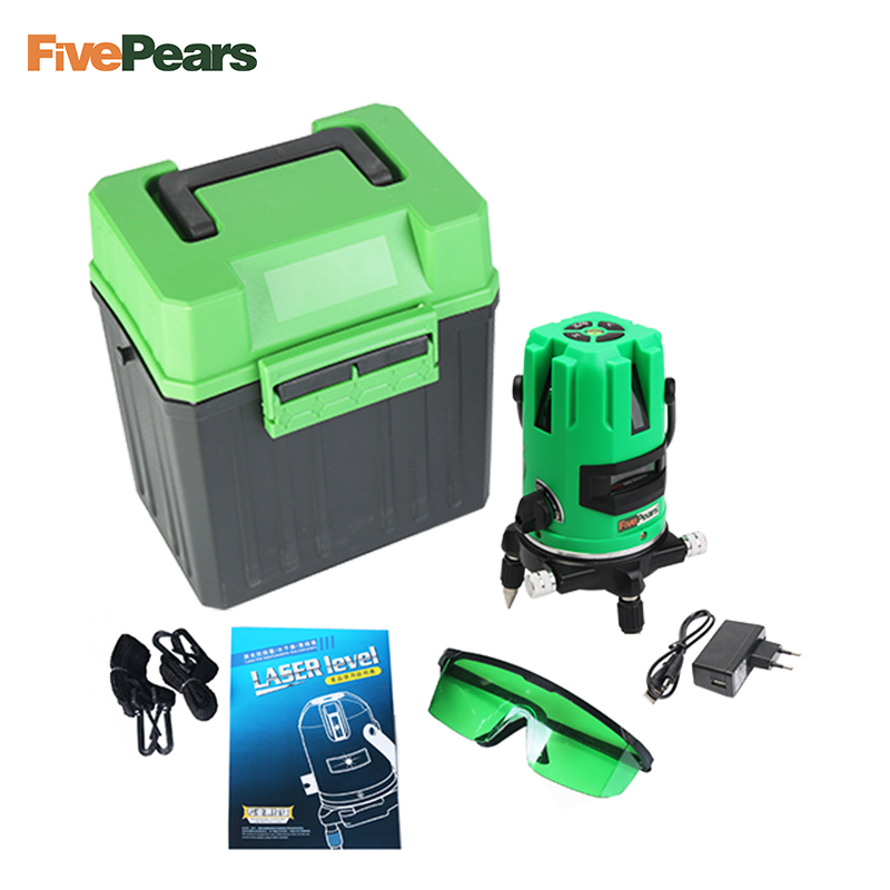 FivePears Laser Level Tools 5 Lines 6 Points Level Tilt Function 360 Rotary Self Lleveling Outdoor EU 635nm Green corss Line quality mtian level laser 5 lines 6 points instrument levels 360 self rotary 635nm corss line lazer level tools fast delivery