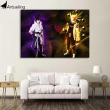 1 piece canvas painting Naruto and Sasuke HD anime posters prints for living room free shipping XA1871D