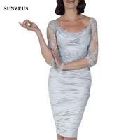Silver Groom Mother Of The Bride Dresses 2018 New Sheath Knee Length Bridal Mother Dress Appliques Half Sleeve Party Gown CM0104