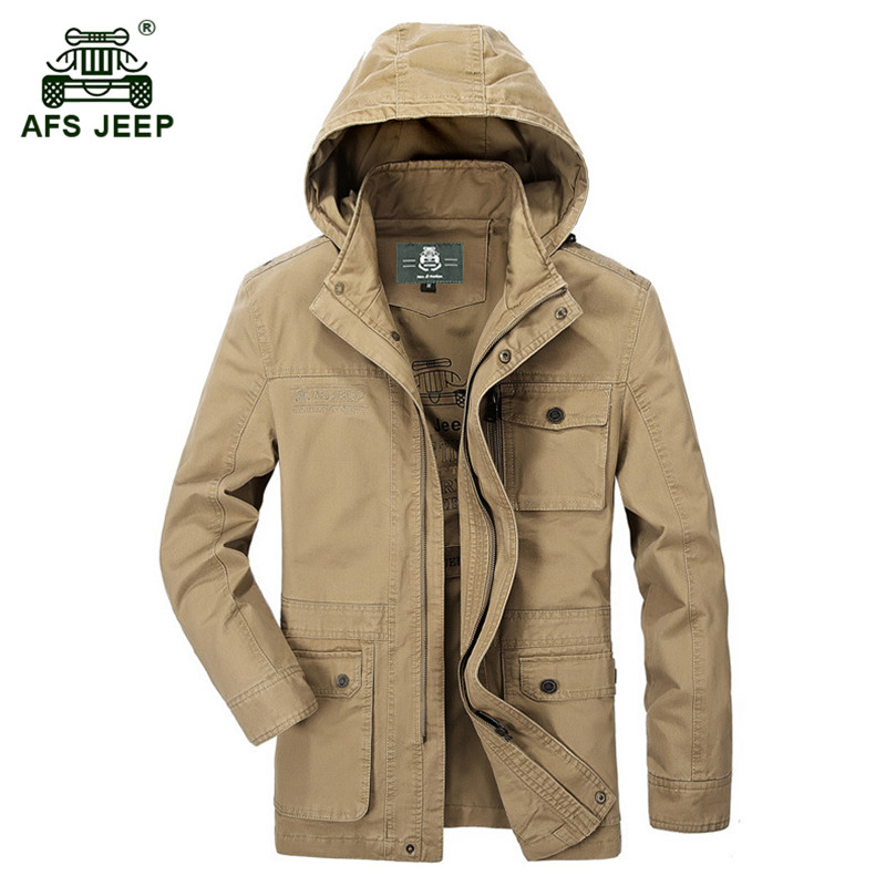 AFS JEEP 2017 Mens spring casual brand 100% cotton jacket coat autumn man hooded jackets coats large size M L XL XXL XXXL 4XL