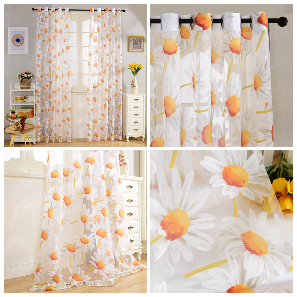 Charming New Europe Style Top Orange Sunflowers Printing Voile Curtain Slim  Semi Shade Tulle Bedroom Living