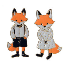 Moda Mr MS Gentleman Lady Fox Smalto pin Spilla Denim Spille animali Giacca Pin Distintivo Amanti gioielli Regalo per coppie(China)