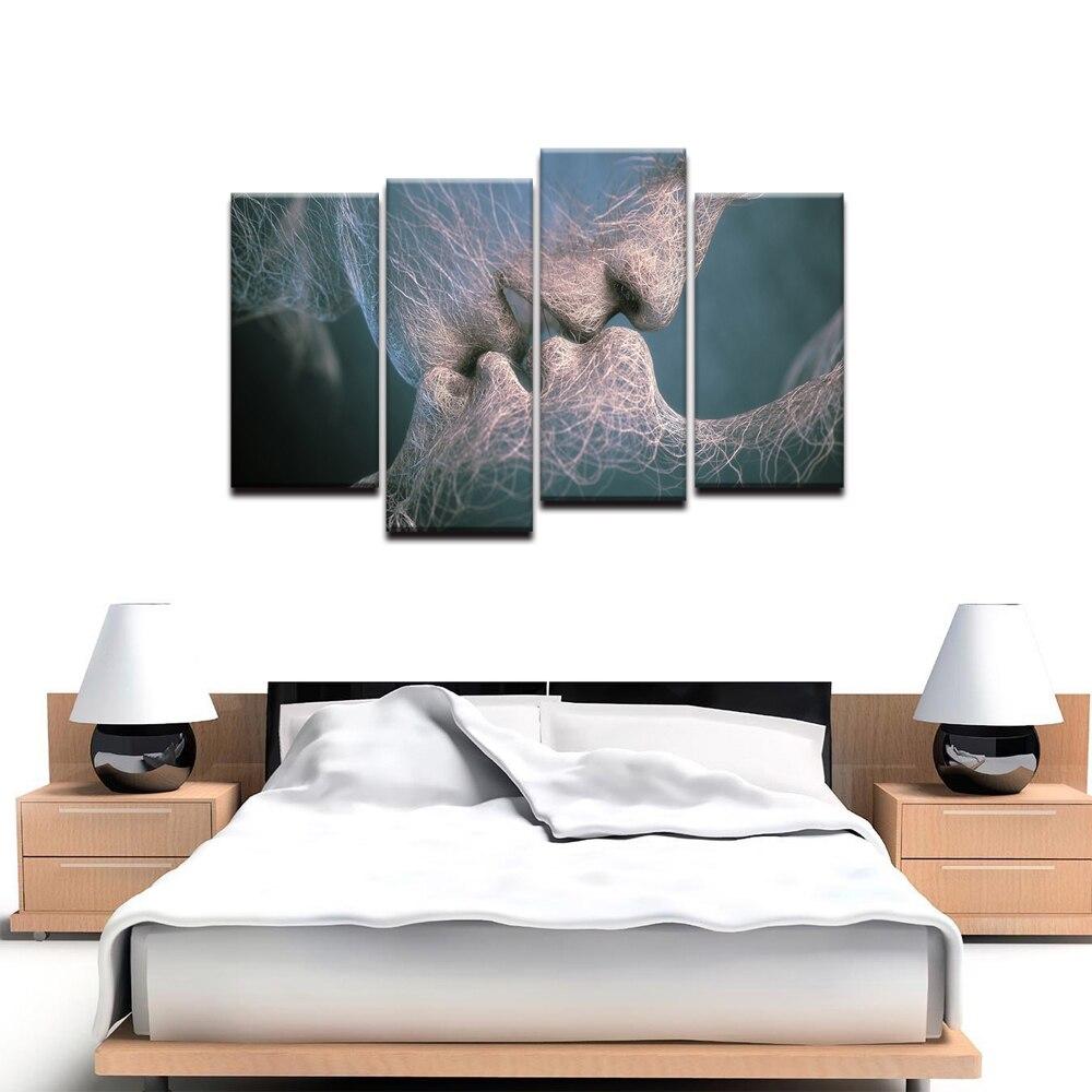 4 panneau créer Idear noir & blanc amour baiser Art abstrait toile peinture mur Art photo impression décoration pour chambre