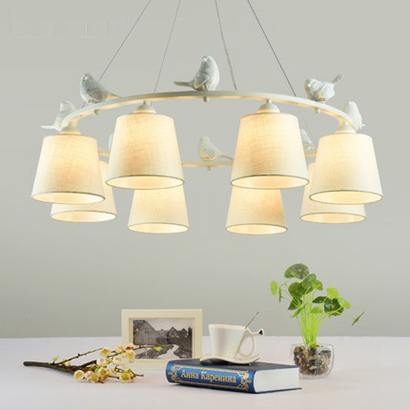LukLoy Romantic E27 Bird LED Chandelier Light Lamp Linen Lampshade Cloth Chandelier Kitchen Living Room Hanging Lighting Fixture