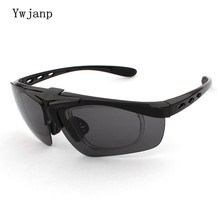 Ywjanp Brand Flip cover Sunglasses Men Sports Goggle Fashion Male Driving sun glasses Add near vision frame Oculos De Sol UV400