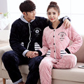 A4 Winter couples pajamas thicker three coral velvet folder cotton men and women Sleepwear young home warm Soft  clothes