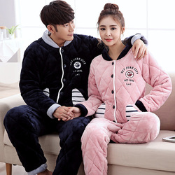 New casual cute a4 winter couple pajamas thicker three coral velvet folder cotton men and women.jpg 250x250