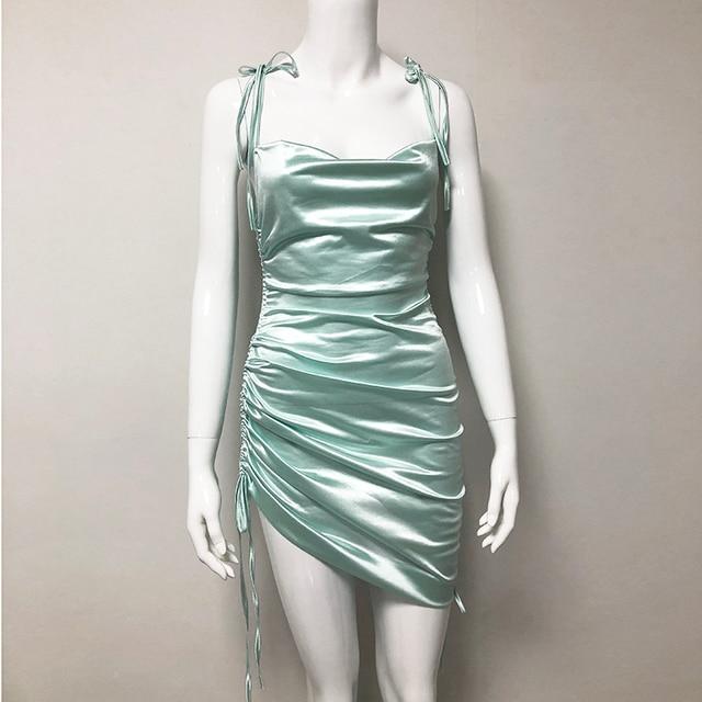 Colysmo Sexy Summer Dress 2020 Women Spaghetti Straps Bodycon Dress Slim Stretch Multi Wear Ruched Club Satin Dress Vestidos New 5