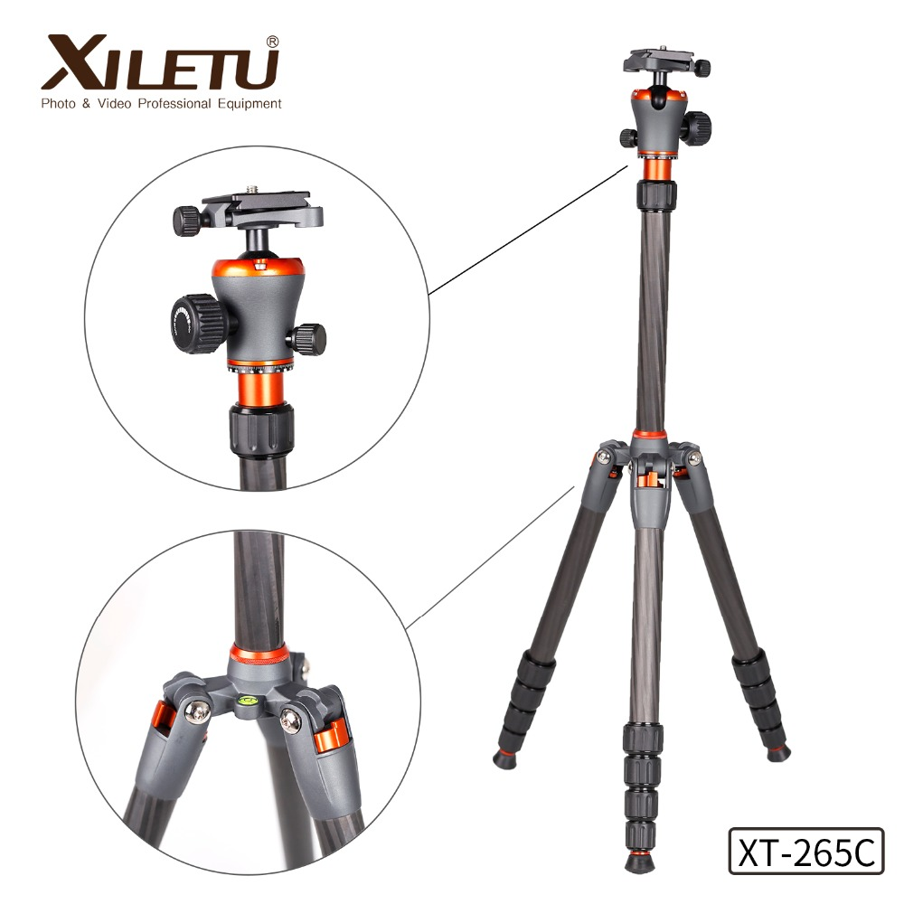 XILETU XT 265C Portable Carbon Fiber Tripod Ball Head Professional travel tripod For DSLR Digital
