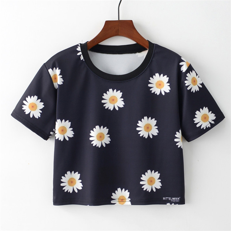 High Quality Plain T Shirt Women Strawberry Flower Colorful Ink Print Basic T-shirts Female Casual Tops Short Sleeve T-shirt