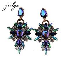 Girlgo Hot Sale Charm Boho Luxury Dangle Earrings For Women Party Gifts Multicolor Geometric Statement Drop Earrings Jewelry