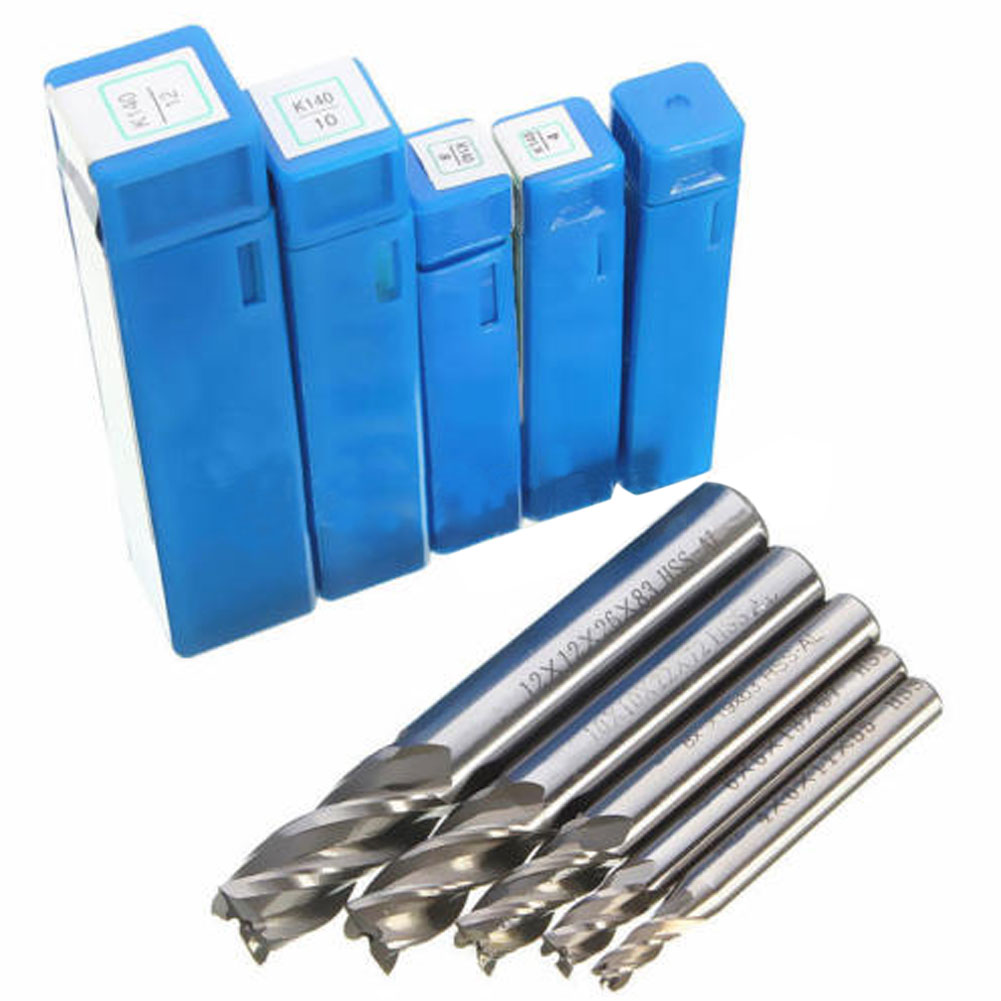 Metalworking Drilling End Mill 5pcs HSS Straight Shank 4Flute Milling Cutter Router Drill Bit Tool Set 4 6 8 10 12 mm 5 pcs silver tone 1mm cutting dia straight shank 2 flute end mill milling cutter