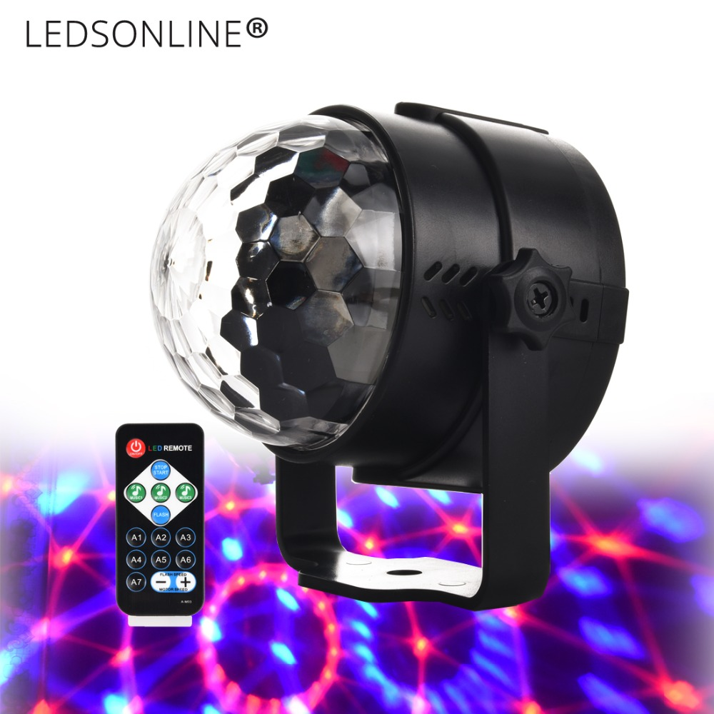 Mini 3W DJ Light RGB Color Sound Change Sound Change Crystal Magic - روشنایی جشن